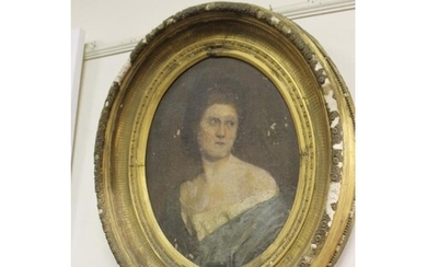 Early 19th Century Portait of a Lady in an Oval Gilt Frame