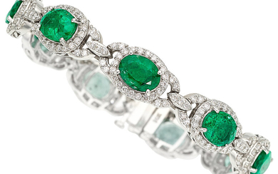 Emerald, Diamond, White Gold Bracelet The bracelet features oval-shaped...