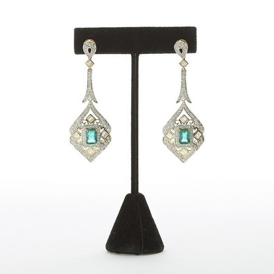 Emerald and Diamond Earrings w/ White and Yellow