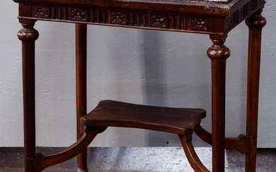 European Style Wood and Stone Side Table