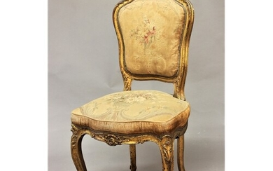 FRENCH LOUIS XV STYLE GILTWOOD SIDE CHAIR, probably 19th cen...