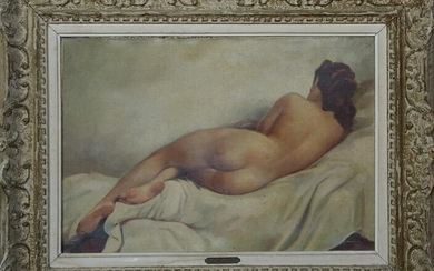 """Fernand Jean Barbier (20th c., France), """"Nude at Rest,"""""""