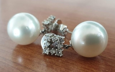 Fine Cultured Pearl and Diamond Drop Earrings