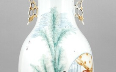 Floor vase, China, 20th century, polychrome on-glaze painting, two young women in the garden, calligraphy, applied handles, h. 58 cm