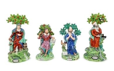 Four Staffordshire Bocage Figures Height of tallest 12