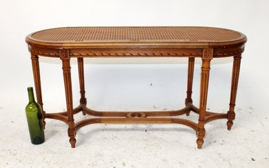 French Louis XVI style cane seat bench
