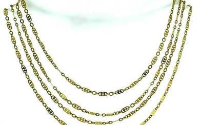 French Victorian 18k Yellow Gold Long Fancy Filigree