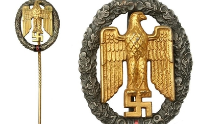GERMAN WWII GAU SUDETENLAND BADGE AND PIN 1938