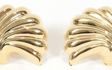 GOLD, SHELL FORM, OMEGA CLIP EARRINGS WITH POST