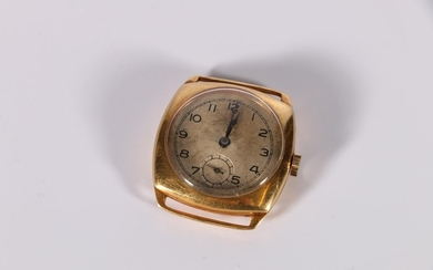 Gent's 18ct gold watch of tonneau shape, 17 jewels with over...