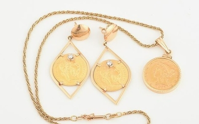 Gold Coin, Diamond, 14k Yellow Gold Jewelry Suite.
