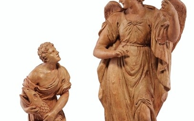 ITALIAN, 18TH CENTURY, TWO TERRACOTTA FIGURES OF TOBIAS AND THE ANGEL