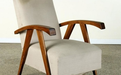 ITALIAN MID CENTURY MODERN OAK OPEN ARM CHAIR