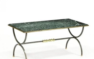 Italian Steel, Brass, and Marble Coffee Table