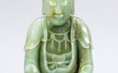 Jade Buddha, probably from the 18th century, body carved from light green jade, flat stance. Sitting posture Padmasana, hand position Dhyana, Ushnisha surrounded by snail-shaped topknot, pleated garment, h. 19 cm
