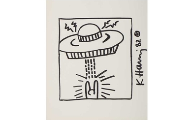 Keith Haring (American, 1958-1990), 'Untitled (Man With UFO)'