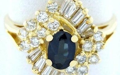 LADIES 14K YELLOW GOLD 1/2ct OVAL SAPPHIRE DIAMOND