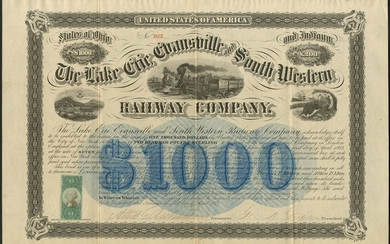 Lake Erie, Evansville and South Western Railway Company, 7% bond for $1000 or £200, 1872, #922,...