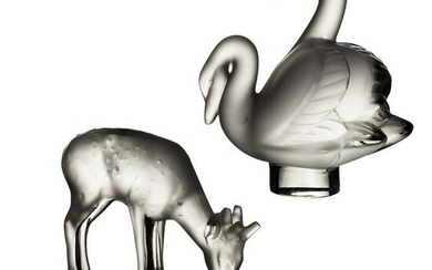 Lalique Frosted Crystal Deer & Swans Figurines LOT