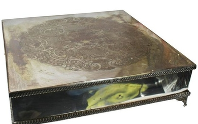 Large Antique Silver Plated Square Cake Stand