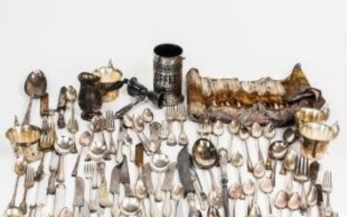 Large Group of Silver-plated Flatware and Tableware.