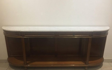 Large Louis XVI style half-moon console table in mahogany and mahogany veneer, decorated with brass fittings,four blind drawers in the belt, white marble top