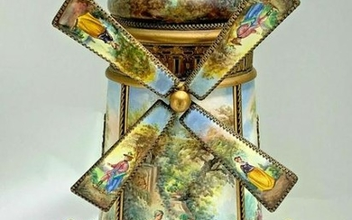 Large Viennese Austrian Enamel Windmill Musical Jewelry