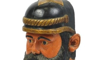 Large hand painted carved wood bust of Sir Percy