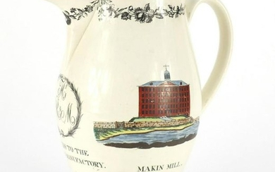 Late 18th/early 19th century creamware jug, decorated
