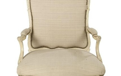 Louis XV-Style Painted Fauteuil