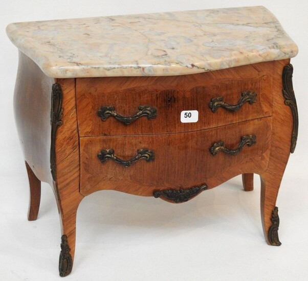 Louis XV style veneered chest of drawers or miniature chest of drawers with two drawers in front and marble top.