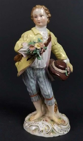 MEISSEN - PORCELAIN FIGURE of BOY w. FLOWERS, 19th C.