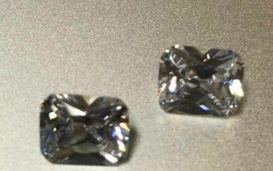 Matched Pair, 4.3ct Octagon Lab-created Bianco®