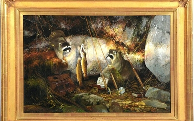 Michael Coleman, Racoons on the North Fork, A P Giclee