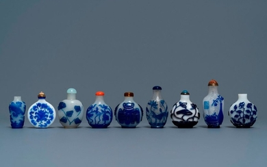 Nine various Chinese blue overlay and transparent glass...