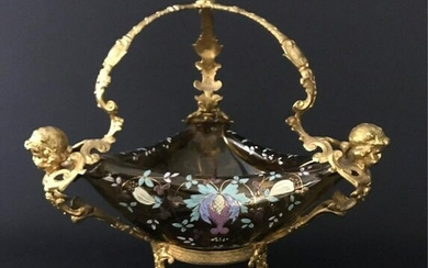 ORMOLU MOUNTED ENAMELLED MOSE GLASS CENTERPIECE