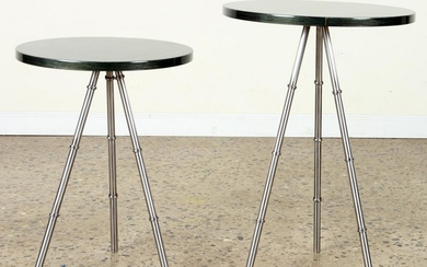 PAIR BAMBOO STYLE POLISHED CHROME DRINKS TABLES