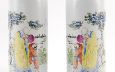 """PAIR OF CHINESE PORCELAIN CYLINDRICAL VASES Decoration of a sage and a child. Heights 11.6""""."""