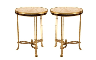 PAIR OF NEOCLASSIC-STYLE GILT BRONZE & MARBLE GUERIDONS