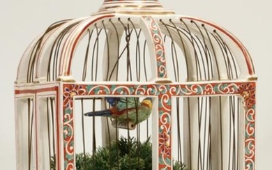 "PORCELAIN & SOFT PASTE BIRD CAGE, H 19"", W 10.5"""