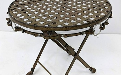 Painted Iron Folding Cafe Table. Leather strap design.