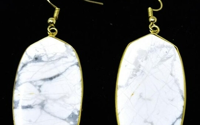 Pair Contemporary White Marble Panel Earrings