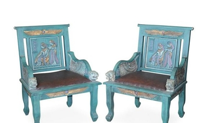 Pair Of Egyptian Revival Carved Wood Chairs