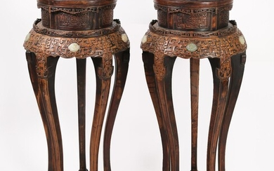 Pair of Chinese Cloisonne and Celadon Jade-Inlaid Carved Wood Stands, Modern CCW1E