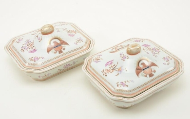 Pair of Chinese Export porcelain rectangular covered