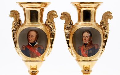 Pair of Empire-style porcelain vases, probably from Vienna, second half of the 19th Century.