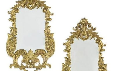 Pair of Louis XV Style Gilt Bronze Mirrors