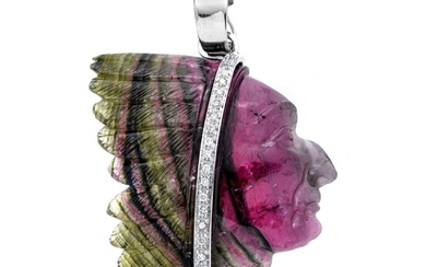 Pendant in tourmaline, white gold and diamonds