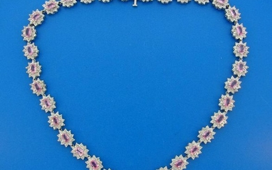 Pink Sapphire Diamond White Gold NECKLACE 1980s