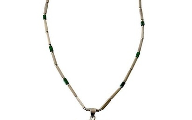 Rare Los Castillo Sterling Silver Rock Crystal Malachite Mexican Modern Necklace